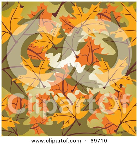Royalty-Free (RF) Clipart Illustration of a Background Of Yellow, Green And Orange Autumn Leaves by MilsiArt