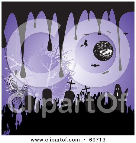 Royalty-Free (RF) Clipart Illustration of a Purple Halloween Background With Drips, Tombstones, Spiders, Bats, Witches And Ghosts by MilsiArt