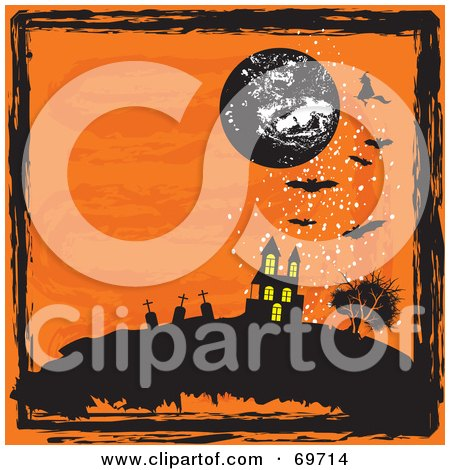Royalty-Free (RF) Clipart Illustration of an Orange Halloween Background With A Moon, Haunted House, Graveyard, Bats And Black Grunge by MilsiArt