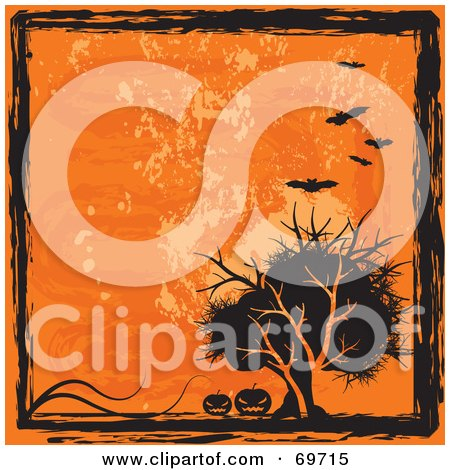 Royalty-Free (RF) Clipart Illustration of a Grungy Orange And Black Halloween Background With Bats, Pumpkins And A Tree by MilsiArt