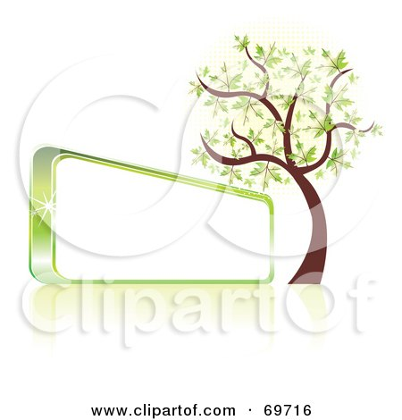 Royalty-Free (RF) Clipart Illustration of a Green Spring Tree Beside A Shiny Blank Sign by MilsiArt