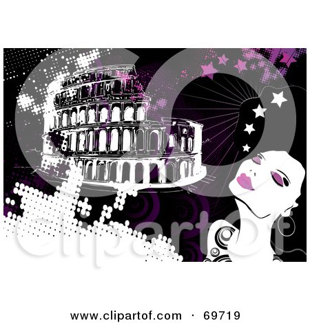 Royalty-Free (RF) Clipart Illustration of a Glamorous Woman Daydreaming Of Rome by MilsiArt