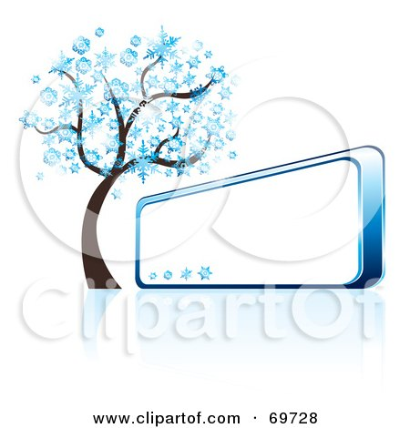 Royalty-Free (RF) Clipart Illustration of a Blue Winter Tree Beside A Shiny Blank Sign by MilsiArt