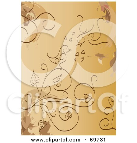 Brown Background Of Plants And Love Birds Posters, Art Prints