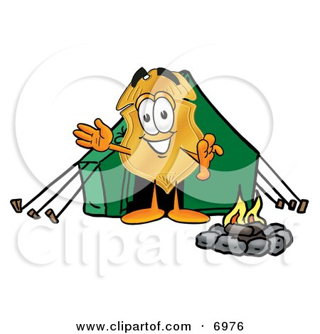 Clipart Picture of a Badge Mascot Cartoon Character Camping With a Tent and Fire by Toons4Biz