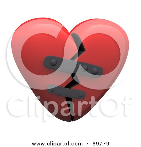 Red 3d Patched Broken Heart Posters, Art Prints