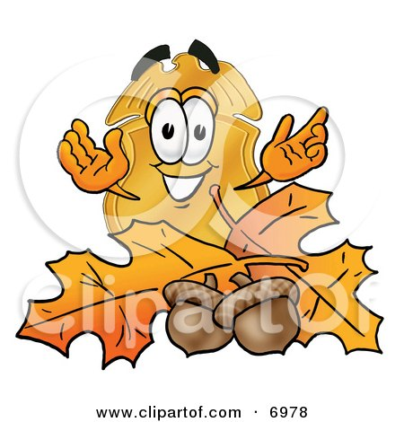 Clipart Picture of a Badge Mascot Cartoon Character With Autumn Leaves and Acorns in the Fall by Toons4Biz