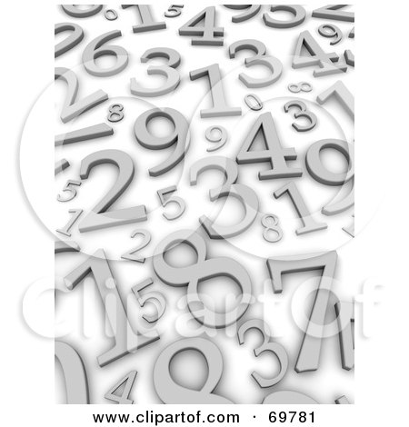 Royalty-Free (RF) Clipart Illustration of a Blue Background With Scattered Silver 3d Numbers by Jiri Moucka