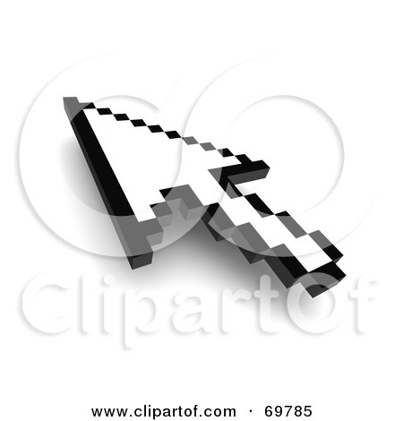 Royalty-Free (RF) Clipart Illustration of a Black And White Pixelated Arrow Cursor - Version 1 by Jiri Moucka