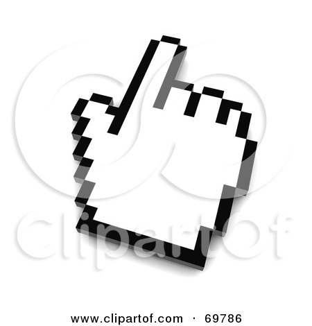 Royalty-Free (RF) Clipart Illustration of a Pointing Black And White Pixelated Hand Cursor - Version 1 by Jiri Moucka