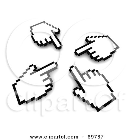 Royalty-Free (RF) Clipart Illustration of Four Hand Cursors Pointing Inwards by Jiri Moucka