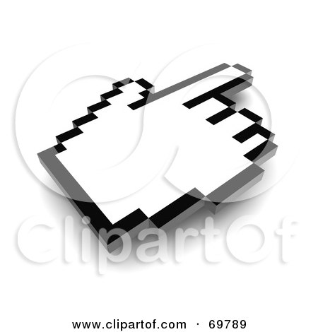 Royalty-Free (RF) Clipart Illustration of a Pointing Black And White Pixelated Hand Cursor - Version 2 by Jiri Moucka