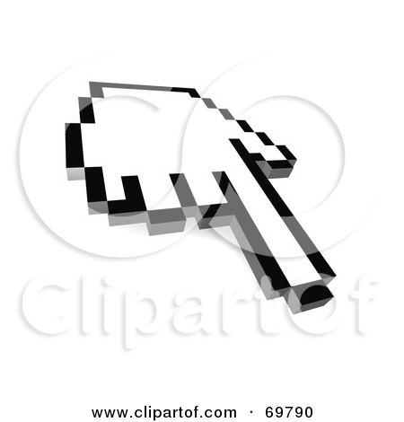 Royalty-Free (RF) Clipart Illustration of a Pointing Black And White Pixelated Hand Cursor - Version 3 by Jiri Moucka