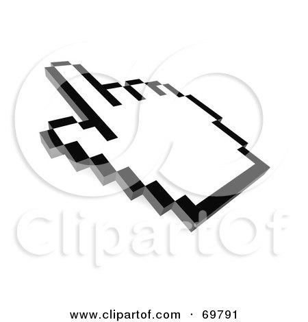 Royalty-Free (RF) Clipart Illustration of a Pointing Black And White Pixelated Hand Cursor - Version 4 by Jiri Moucka