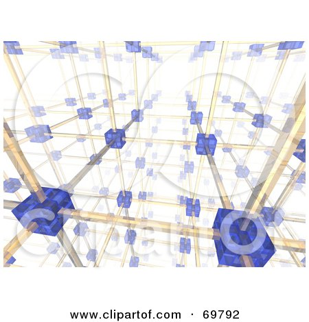 Royalty-Free (RF) Clipart Illustration of a 3d Networking Cube And Wire Background - Version 1 by Jiri Moucka