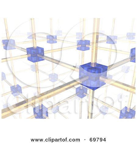 Royalty-Free (RF) Clipart Illustration of a 3d Networking Cube And Wire Background - Version 2 by Jiri Moucka
