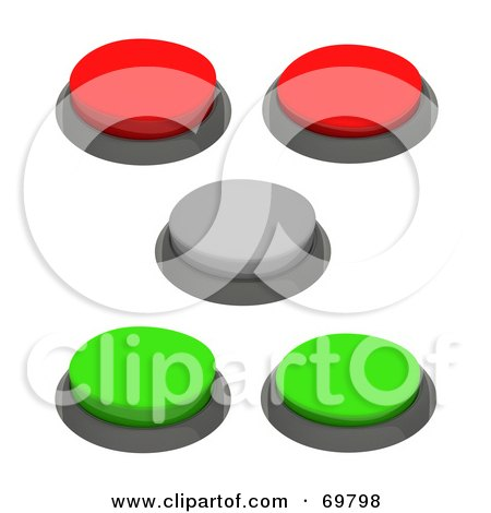 Royalty-Free (RF) Clipart Illustration of a Digital Collage Of Gray, Green And Red 3d Push Buttons by Jiri Moucka