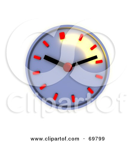 Royalty-Free (RF) Clipart Illustration of a Shiny Chrome 3d Wall Clock With Red Notches by Jiri Moucka