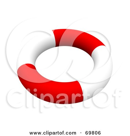 Royalty-Free (RF) Clipart Illustration of a Red And White 3d Life Ring by Jiri Moucka