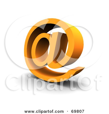 Royalty-Free (RF) Clipart Illustration of an Angled Orange Arobase Symbol by Jiri Moucka