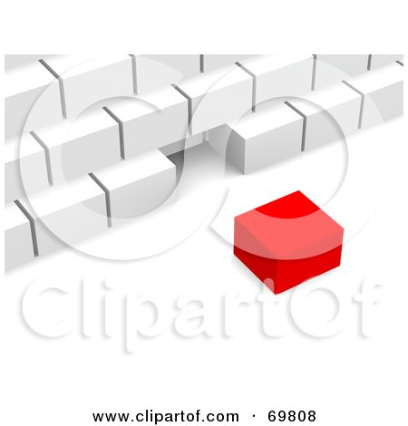 Royalty-Free (RF) Clipart Illustration of a Red 3d Cube Near A White Pyramid by Jiri Moucka