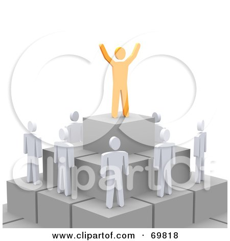 Royalty-Free (RF) Clipart Illustration of a 3d Anaranjado Guy Standing On Top Of A Pyramid With Staff Below by Jiri Moucka