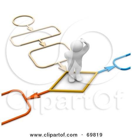 Royalty-Free (RF) Clipart Illustration of a 3d Blanco Man Character Standing On A Colorful Path by Jiri Moucka