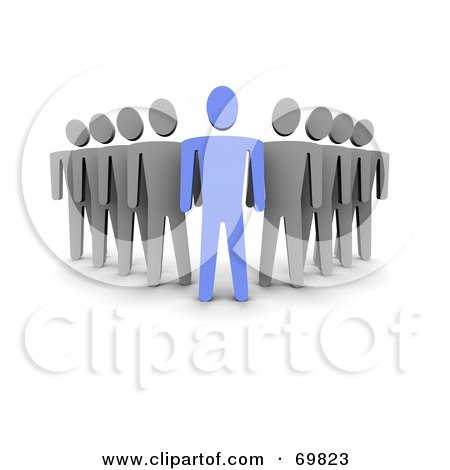 Royalty-Free (RF) Clipart Illustration of a 3d Blue Guy Followed By Gray Guys by Jiri Moucka