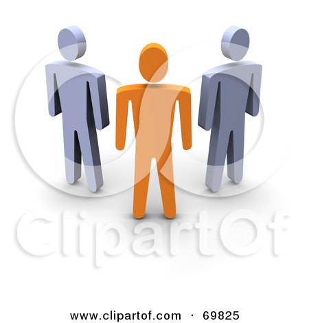 Royalty-Free (RF) Clipart Illustration of a 3d Anaranjado Guy Standing In Front Of Gray Guys by Jiri Moucka