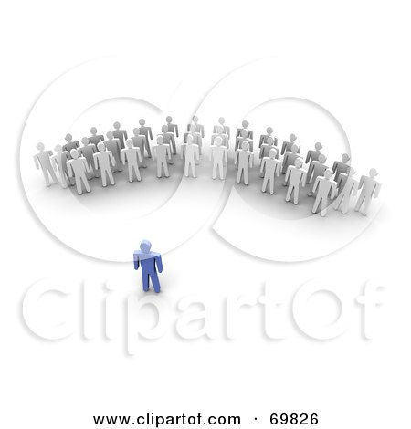 Royalty-Free (RF) Clipart Illustration of a 3d Blue Guy Speaking To A Crowd by Jiri Moucka