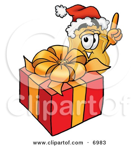 Clipart Picture of a Badge Mascot Cartoon Character Standing by a Christmas Present by Toons4Biz