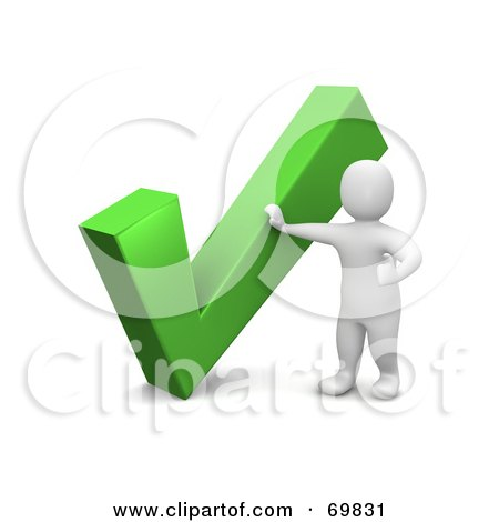 Royalty-Free (RF) Clipart Illustration of a 3d Blanco Man Character By A Large Check Mark by Jiri Moucka