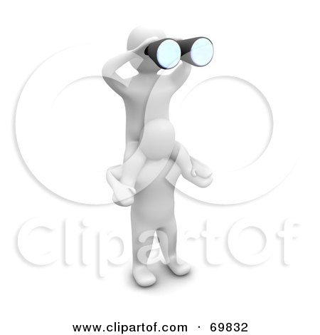 Royalty-Free (RF) Clipart Illustration of a 3d Blanco Man Character Holding A Partner, Peering Through Binoculars by Jiri Moucka