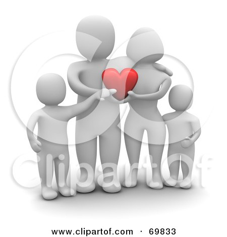 Royalty-Free (RF) Clipart Illustration of a 3d Blanco Man Character Family Holding A Heart by Jiri Moucka