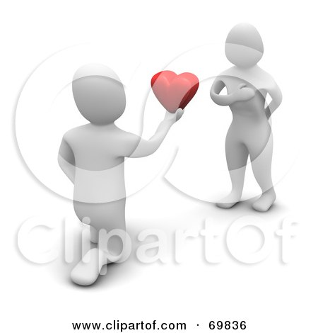 Royalty-Free (RF) Clipart Illustration of a 3d Blanco Man Character Proposing With A Heart by Jiri Moucka