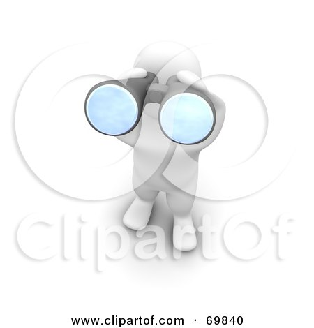 Royalty-Free (RF) Clipart Illustration of a 3d Blanco Man Character Viewing Outwards With Binoculars by Jiri Moucka