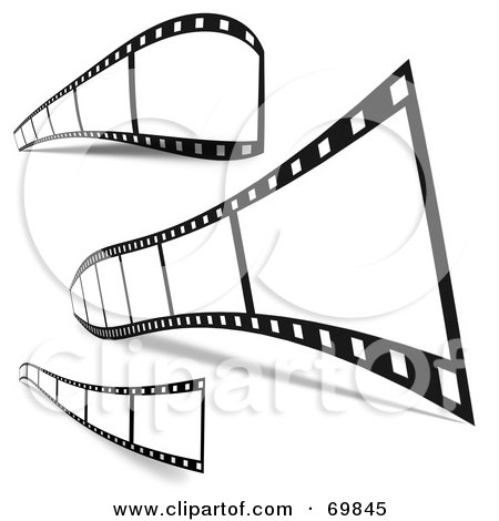 Royalty-Free (RF) Clipart Illustration of a Digital Collage Of Three Film Strips With Black Frames And Shadows by MacX