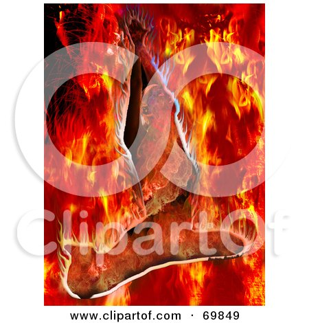 Royalty-Free (RF) Clipart Illustration of a Flaming Woman Background by MacX