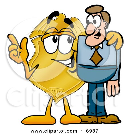 Clipart Picture of a Badge Mascot Cartoon Character Talking to a Business Man by Toons4Biz