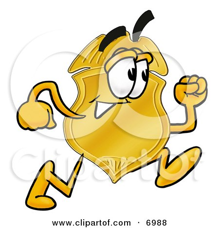 Clipart Picture of a Badge Mascot Cartoon Character Running by Toons4Biz