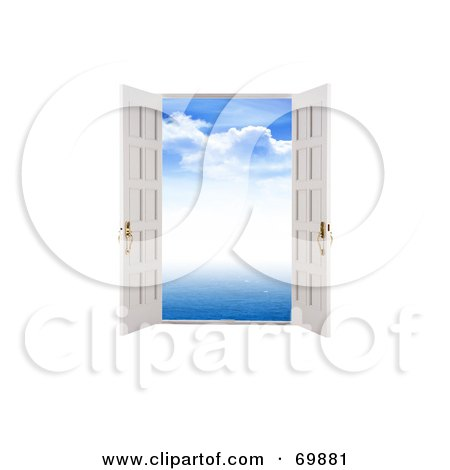 Royalty-Free (RF) Clipart Illustration of a Blue Sky Through Open Doors by MacX