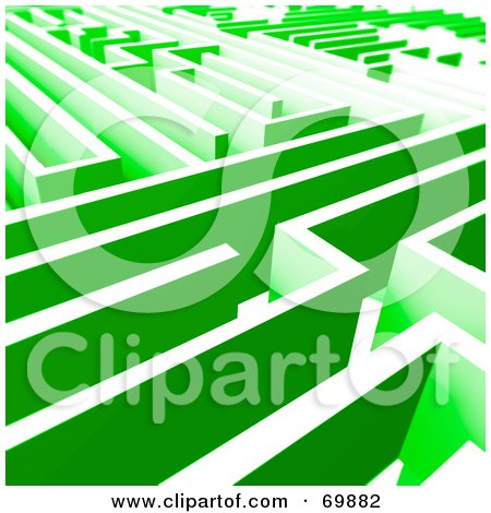 Royalty-Free (RF) Clipart Illustration of a Green Maze by MacX