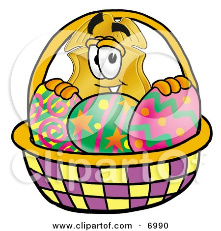 Clipart Picture of a Badge Mascot Cartoon Character in an Easter Basket Full of Decorated Easter Eggs by Toons4Biz