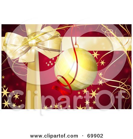 Royalty-Free (RF) Clipart Illustration of a Red Christmas Background With A Gold Bow, Ribbons And Bauble With Stars by MacX