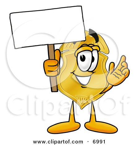 Clipart Picture of a Badge Mascot Cartoon Character Holding a Blank Sign by Toons4Biz