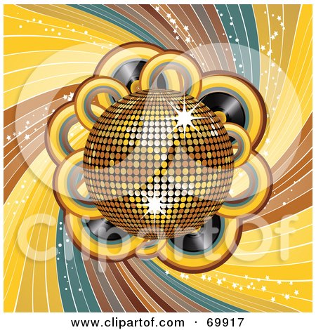 Royalty-Free (RF) Clipart Illustration of a Shiny Golden 3d Disco Ball Over Records And Swirls by elaineitalia