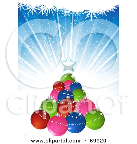 Royalty-Free (RF) Clipart Illustration of a Christmas Tree Made Of Colorful Baubles, Over A Blue Burst Background by elaineitalia