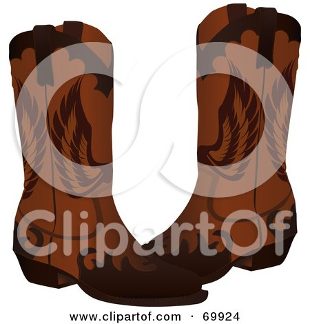 Pair Of Brown Leather Cowboy Boots With Wing Designs Posters, Art Prints