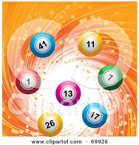 Royalty-Free (RF) Clipart Illustration of a Colorful 3d Lottery Balls On A Swirling Orange Background by elaineitalia