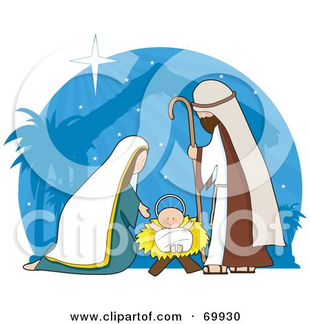 Royalty-Free (RF) Clipart Illustration of a Nativity Scene With A Blue Shining Background by Maria Bell